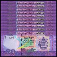 Lot 10 PCS, Solomon Islands 20 Dollars, ND(2017), P-34, Prefix A1, Banknote, UNC
