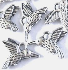 20 Silver Pewter hummingbird Flying Bird Charm 13x16mm