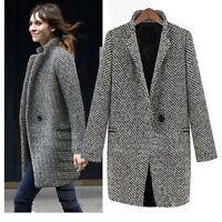 NEW Womens Coat Trench Wool jacket Fashion Elegant Overcoat Coat Size White Blac