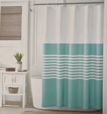 Tommy Hilfiger Shower Curtain Fleet Stripe White & Aqua or Teal New Open Package