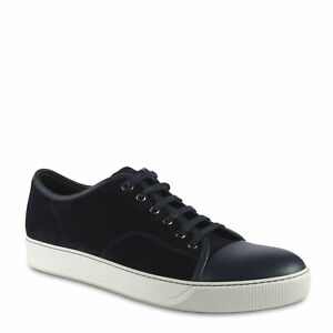 Lanvin Men's Sneakers fashion low top in navy blue suede leather  US 11 - EU 44