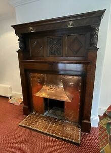 Antique Victorian / Edwardian Wood Copper  Fireplace And Surround