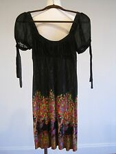 FREE PEOPLE Butterfly Floral  Black Baby Doll Dress XS