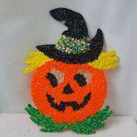 Popcorn Plastic Pumpkin Jack-O-Lantern Orange Melted Plastic 70s Halloween Decor