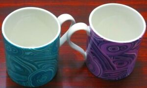 2 Jonathan Adler Coffee Mugs, 1 Purple Swirls, 1 Blue/Green Swirls, RARE