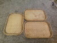 "💲 3 VTG Vintage Bamboo Woven Rattan Wicker Tiki Serving Trays 13""x19"" (RR)"