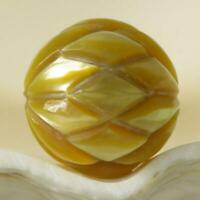 Hand-Carved South Sea Pearl Deep Golden Round drilled Indonesia 1.92 g