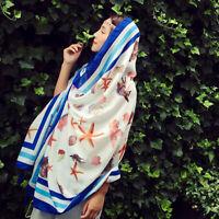 Summer Women Shawl Soft Cotton Scarf Vacation Sunscreen Beach towel Flower S