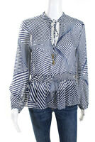 Paloma Womens Beaded Tie Neck Smocked Sheer Blouse Blue White Silk Size Small