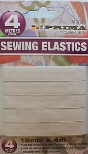 White Dressmaking Sewing Elastic Flat.Width 12mm  4 METRES LONG aprox