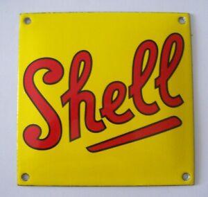 GOOD RETRO STOVE ENAMEL SHELL MOTOR OIL BADGE SIGN MAN CAVE GARAGE DEN SHED