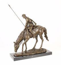 9973384-dssp Bronze Sculpture Cavalier Soldat sur Grasendem Cheval 15x44x43cm