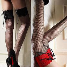 Damen Sexy Halterlose Netz Strümpfe Stockings Spitze Overknee Strapsstrümpfe