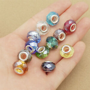 Colorful 14x9mm Glass Geometric Faceted Beads Spacer Beads DIY Findings 20pcs