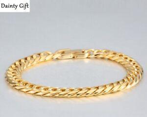 """Fashion Men Women Titanium Stainless Steel Gold Miami Cuban Chain Bracelet 8"""""""