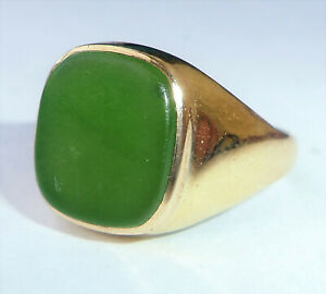 Mens Vintage 9ct Gold Green Onyx Signet Ring, Size S