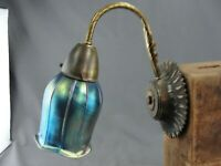 Vintage Moe Light Wall Sconce Light Aurene Blue Art Glass Squash Blossom Shade