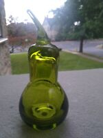 Vintage  Green Viking  Glass Pear Figurine Fruit 5.5 inches tall Mid Century