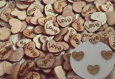 100pcs Wooden Love Heart Shape Small Wood Piece Wedding Table Scatter Decora UK