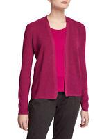 Eileen Fisher Women's Merino Wool Open Front Cardigan Sweater in Magenta Size XS