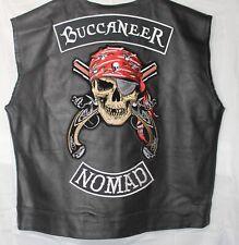 Buccaneer Custom Leather Biker Motorcycle Vest Black Concealed Carry w/Pockets