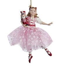 KURT ADLER CLARA IN PINK SNOWFLAKE DRESS w/NUTCRACKER BALLET CHRISTMAS ORNAMENT
