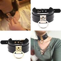 UK Women Punk Gothic Wide PU Leather O Ring Collar Choker Necklace Sexy Clubwear