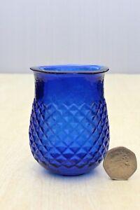 ANTIQUE c1890's VICTORIAN COBALT BLUE FLARED LIP NIGHT LIGHT FAIRY LAMP XMAS DEC