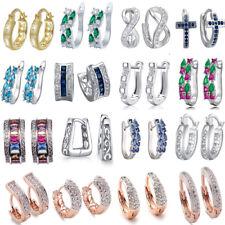 Women 925Sterling Silver Earrings Crystal Dangle Hoop Elegant Wedding Jewelry