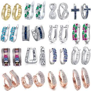 925 Silver Crystal Gemstone Ear Huggie Hoop Stud Wedding Earring Jewelry Bridal