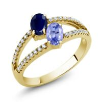1.41 Ct Sapphire and Tanzanite Two Stone 18K Yellow Gold Plated Silver Ring