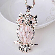 Cute Womens Jewelry Crystal Rhinestone Owl Pendant Necklace Sweater Chain