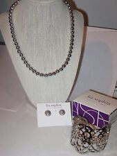 LOT OF 3: Lia Sophia TULLE BRACELET, FORGED EARRINGS & MONET SILVER BEAD NECKLAC
