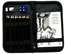 W Drawing Sketching Pencil Set With Zipper Carrying Case Art Supplies S New