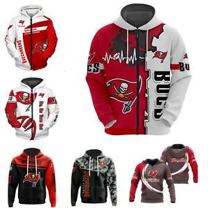 Tampa Bay Buccaneers Mens Hoodie Zip Up Sweatshirt Hooded Jacket Sportwear Gifts