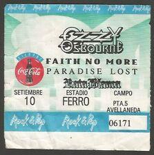 Argentina Ozzy Osburne Faith No More Concert Ticket Stub 1995