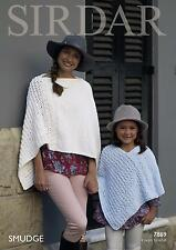 Sirdar 7869 Knitting Pattern Womens Girls Ponchos in Sirdar Smudge