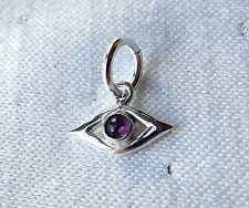 EVIL EYE AMETHYST TINY CHARM TALISMAN PROTECTION 925 STERLING SILVER