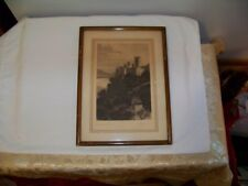Antique Signed Lithograph or Pen & Ink of Castle