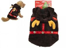 Snow White Christmas Pet Plush Reindeer Coat Jacket Outfit With Bells One Size