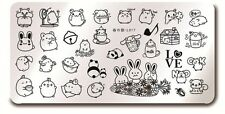 Nail Art Stamping Cute Bunny Rabbit Design Manicure Template Image Plate L017