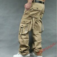 Mens Baggy Loose Fit Casual Overalls Cargo work Cotton Pants Straight Leg Pants