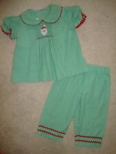 Secret Wishes Green & Red Christmas Santa Clause Smocked 2 piece Set 12 MO