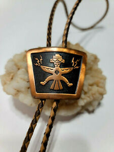 Bolo Tie Solid Copper with Braided Leather Cord Southwest Native American