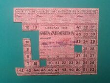 Karta Zaopatrzenia 1946 Purchasing Card