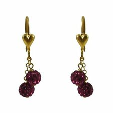 Gold Filled Shamballa Inspired Fuchsia Crystals Girls Dangle Earrings