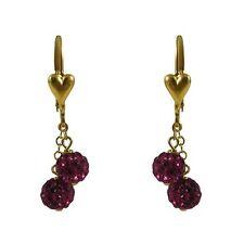 Gold Filled Shamballa Inspired Fuchsia Crystals Girls Dangle Earrings