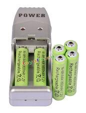 6X NiMH AAA 3A 1800mah 1.2V Color Verde recargable Batería + USB Cargador