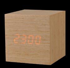 Mini Wooden Clock. LED Alarm Clock. Orange LED. White Oak / Red Sandalwood