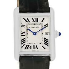 Cartier Tank Louis Mens 18k White Gold Black Strap Watch W1540956